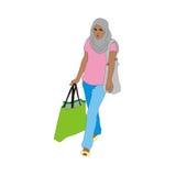 Moslim winkelend meisje Stock Afbeelding