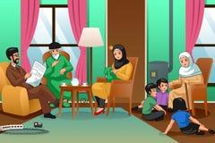 Moslimfamilie thuis Illustratie royalty-vrije illustratie