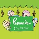 Moslimjonge geitjes die banner houden Royalty-vrije Stock Afbeelding