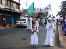 Moslimjonge geitjes die vlag houden Stock Foto