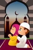 Moslimkinderen die in Moskee bidden royalty-vrije illustratie