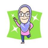 Moslimmeisje die vredesteken tonen Stock Foto's