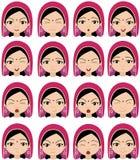 Moslimmeisje in een hoofddekselemoties: vreugde, verrassing, vrees vector illustratie