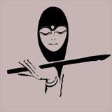 Moslimmeisje met fluit Royalty-vrije Stock Foto's
