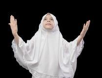 Moslimmeisje tijdens Gebed Stock Foto's