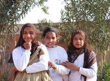 Moslimmeisjes die in Egypte glimlachen Royalty-vrije Stock Foto