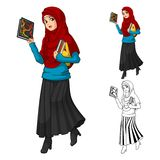 Moslimmeisjesmanier die Groene Sluier of Sjaal met Gele Jasje en Laarzen dragen stock illustratie