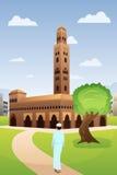 Moslimmens die naar Moskee gaan vector illustratie