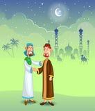 Moslimmensen die handdruk doen Stock Afbeeldingen