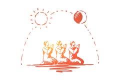 Moslimmensen, traditionele Islamitische vakantieviering, Arabische godsdienst en cultuur, Arabische traditie die bidden stock illustratie