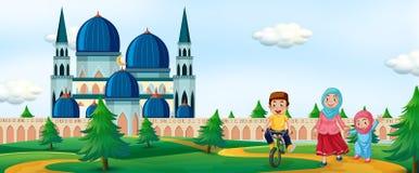 Moslimmensen voor moskee stock illustratie