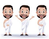 Moslimmensenkarakters die Ihram-Doeken voor het Uitvoeren van Hajj of Umrah dragen Stock Afbeeldingen