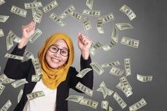 Moslimonderneemster Winning Gesture stock afbeelding