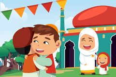 Moslims die Eid Al Fitr vieren Royalty-vrije Stock Foto's