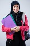 Moslimstudent vóór klassen royalty-vrije stock fotografie