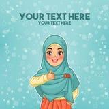 Moslimvrouw die hijab geven omhoog dragen duimen