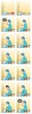 Moslimvrouw die Schoon alvorens Te bidden worden stock illustratie