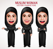 Moslimvrouwen vectorset van tekens die hijab zwarte kleren dragen Royalty-vrije Stock Afbeeldingen