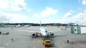 Mosow,俄罗斯- 2017年8月:谢列梅机场在莫斯科 股票录像