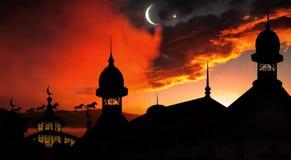 Mosquée au coucher du soleil Photographie stock