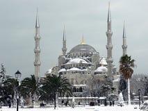 Mosquée bleue à Istanbul neigeux, Turquie Photo stock