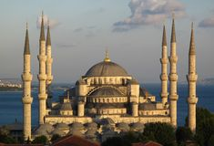 Mosquée bleue au coucher du soleil Photographie stock