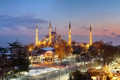 Mosquée bleue, hiver d'Istanbul Image libre de droits