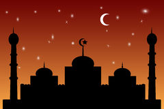 Mosquée - ciel orange de gradation de mosquée Images stock