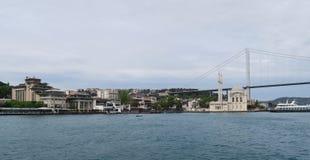 Mosquée d'Ortakoy avec le pont de Bosphorus - connexion entre l'Europe et l'Asie à Istanbul, Turquie photographie stock