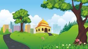 Mosquée de bande dessinée avec la nature et le paysage de ville illustration de vecteur