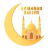 Mosquée de kareem de Ramadan belle sur le croissant de lune d'isolement Photos libres de droits