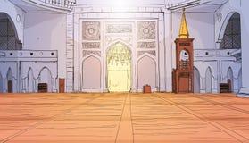 Mosquée de Nabawi établissant la religion musulmane intérieure Ramadan Kareem Holy Month Illustration Libre de Droits