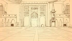 Mosquée de Nabawi établissant la religion musulmane intérieure Ramadan Kareem Holy Month Illustration de Vecteur