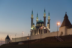 Mosquée de Qol Sharif la nuit Image libre de droits