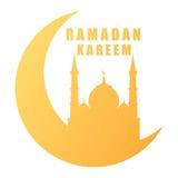Mosquée de silhouette de kareem de Ramadan sur le croissant de lune d'isolement Photo stock