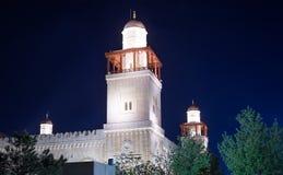 Mosquée du Roi Hussein Bin Talal à Amman (la nuit), Jordanie Images stock