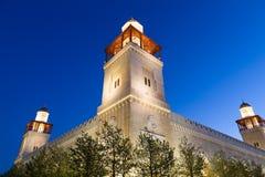 Mosquée du Roi Hussein Bin Talal à Amman (la nuit), Jordanie Images libres de droits