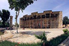 Mosquée et minaret de bolo-Hawz dans la ville de Boukhara, l'Ouzbékistan photos stock