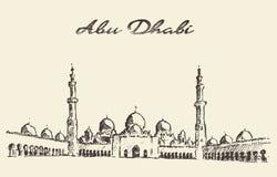 Mosquée Sheikh Zayed Mosque d'Abu Dhabi dessiné Photographie stock libre de droits