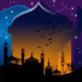 Mosquées contre la nuit étoilée Image stock