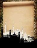Mosquées contre un vieux défilement Photos stock