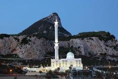 Mosqu?e au Gibraltar au cr?puscule Photographie stock libre de droits