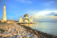 Mosque. The Straits Mosque on Pulau Melaka off the coast of Malacca in Malaysia Royalty Free Stock Image