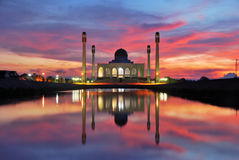 Mosque. Central mosque of songkhla thailand at sunset time Royalty Free Stock Photo