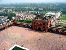 Mosque. From the minaret of the mosque Jama Masjid, view on Red Fort, Delhi, India Stock Image