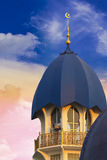 Mosque. A roof top of an islamic mosque on a very late evening sky Royalty Free Stock Photos