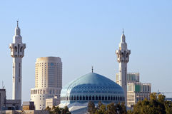 Mosque. King Abdullah mosque in Jordan with mosaic blue domed roof Stock Photo