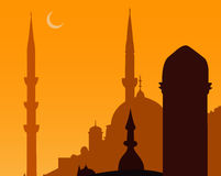 Mosque. On Sunset with half moon (Vector Stock Photos