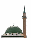 Mosque. With green cupola and minaret Royalty Free Stock Photos