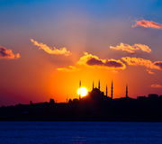 Mosque. Silhouette blue mosque at istanbul Royalty Free Stock Photography